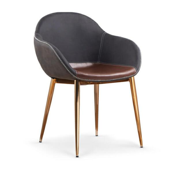 Модерен стол с тапицерия от еко кожа и златисти крака