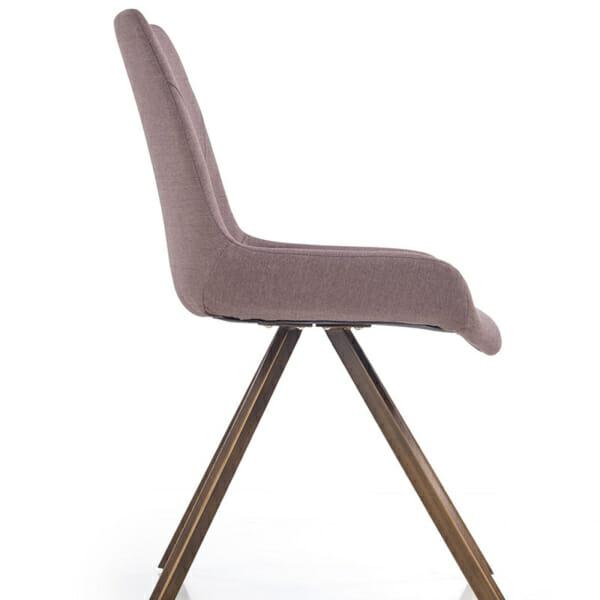 Модерен сив стол с метални крака-снимка отстрани