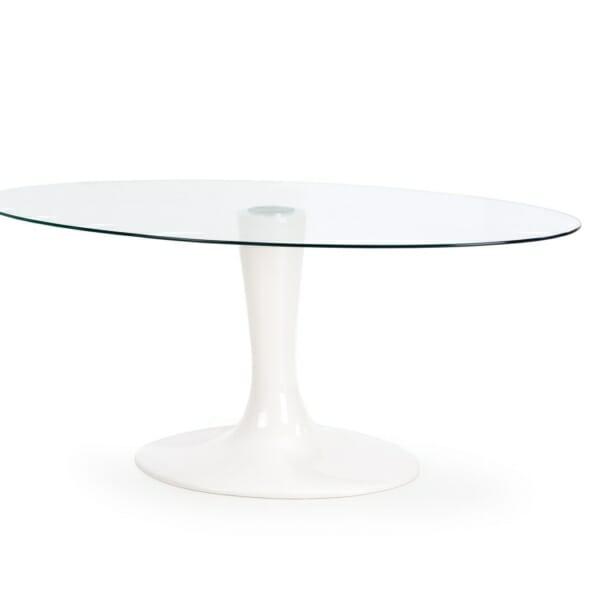 Стъклена трапезна маса с елегантна визия - отстрани