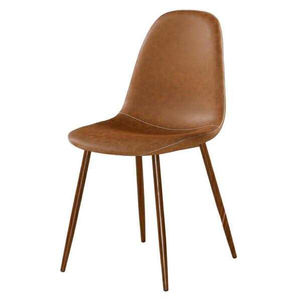 Трапезен стол от еко кожа в индустриален стил-кафяв