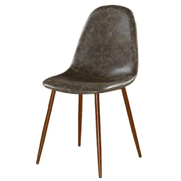 Трапезен стол от еко кожа в индустриален стил - сив