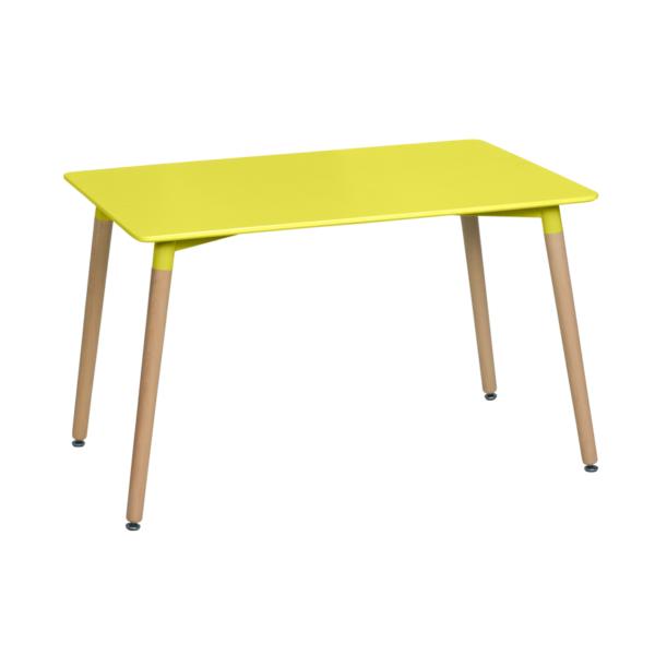 Правоъгълна трапезна маса в скандинавски стил Scandi 02 - жълта