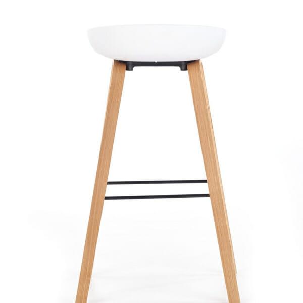 Бар стол със седалка с възглавничка и дървени крака-снимка отзад