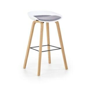 Бар стол със седалка с възглавничка и дървени крака