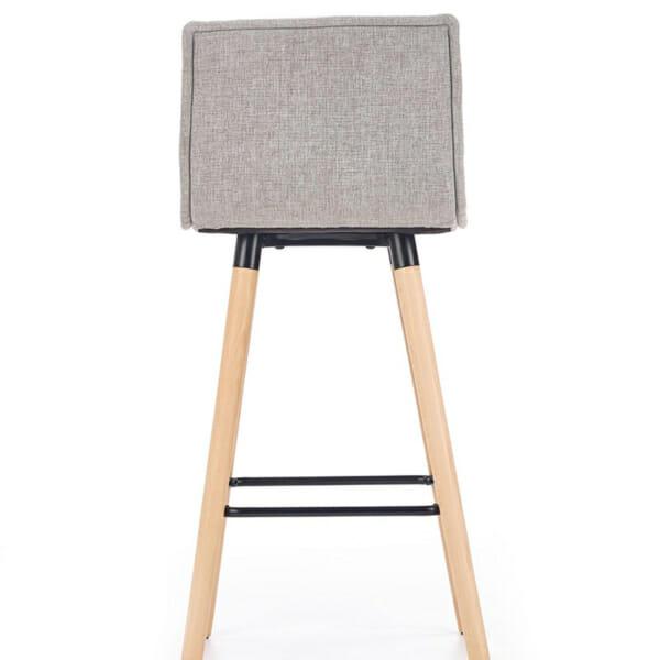 Бар стол с мека седалка и облегалка в сиво-снимка отзад