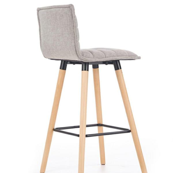 Бар стол с мека седалка и облегалка в сиво-снимка отстрани