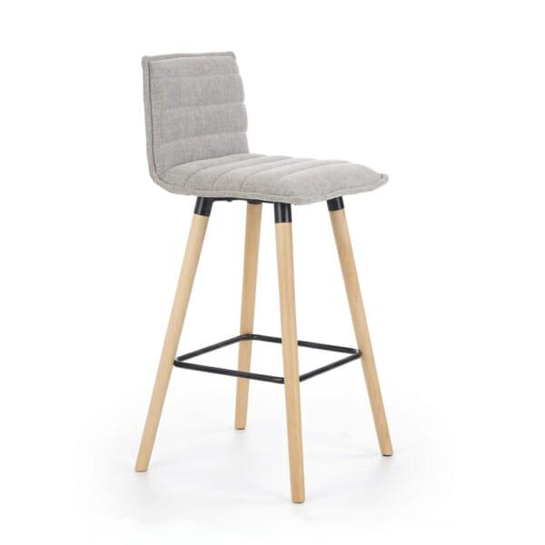 Бар стол с мека седалка и облегалка в сиво