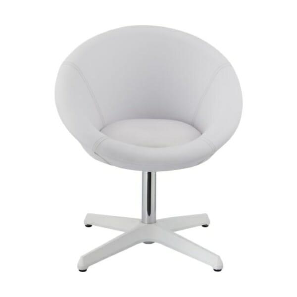 Бял Кръгъл нисък бар стол с облегалка-отпред