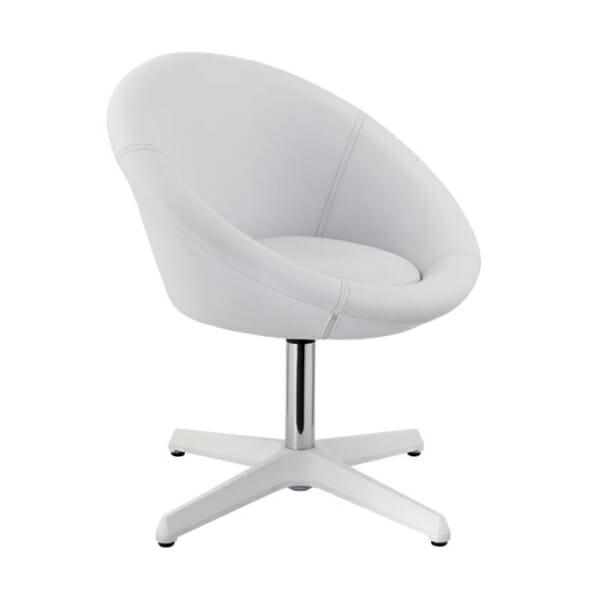 Бял Кръгъл нисък бар стол с облегалка