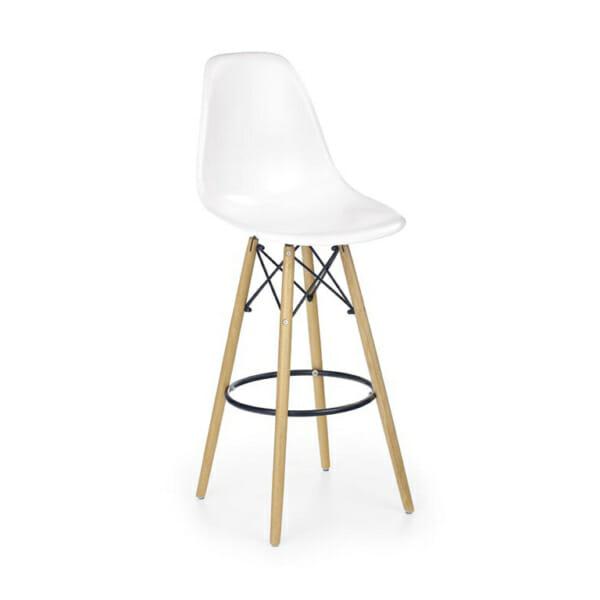 Бял пластмасов бар стол с дървени крака