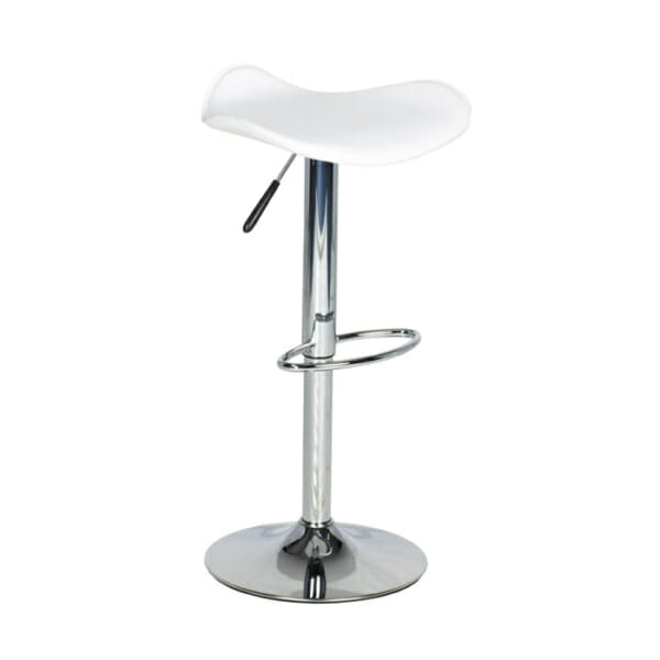 Бял кожен бар стол с нестандартна седалка