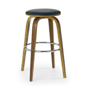 Висок бар стол с кожена седалка и дървени крака