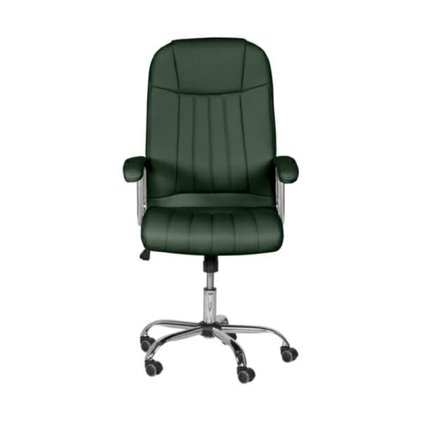 Зелен кожен директорски офис стол с метална основа-снимка отпред