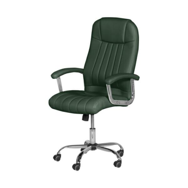 Зелен кожен директорски офис стол с метална основа-снимка странично