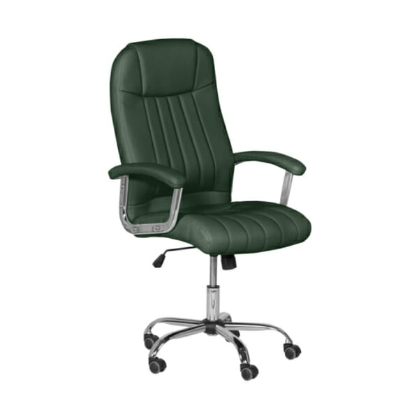 Зелен кожен директорски офис стол с метална основа