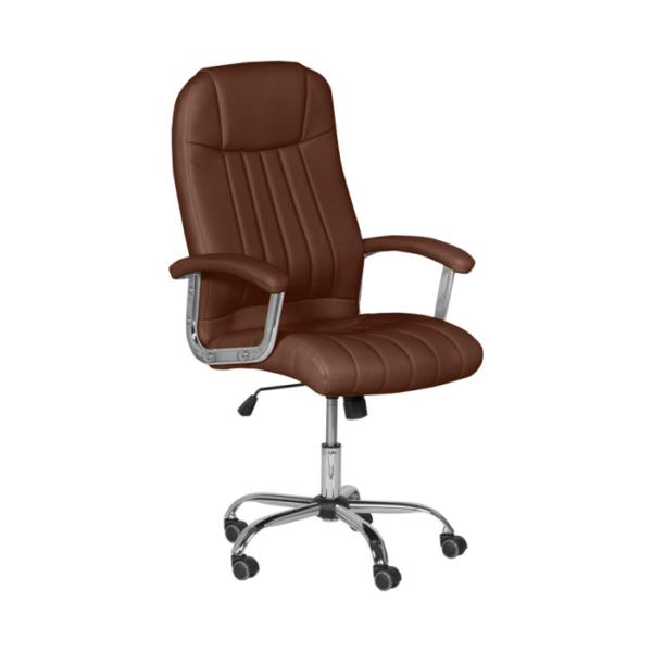 Кафяв кожен директорски офис стол с метална основа