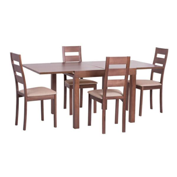 Квадратна разтегателна маса за трапезария в цвят орех+столове