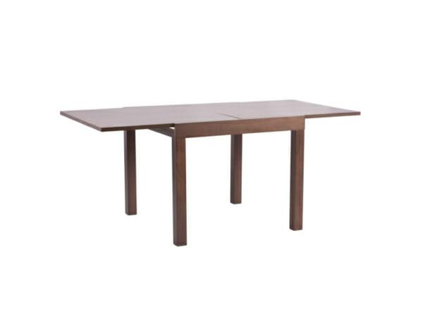 Квадратна разтегателна маса за трапезария в цвят орех-разтегната