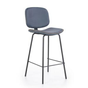 Кожен бар стол с облегалка и метални крака-цвят морско синьо