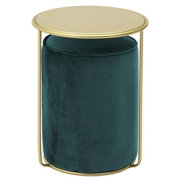 Комплект кръгла масичка и табуретка - зелен