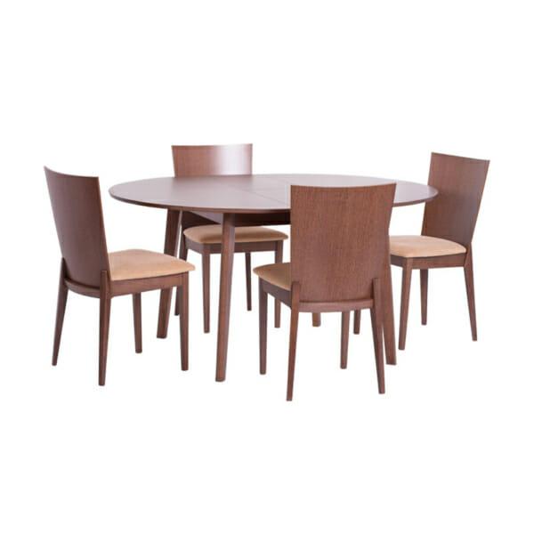 Кръгла разтегателна маса в цвят орех+столове