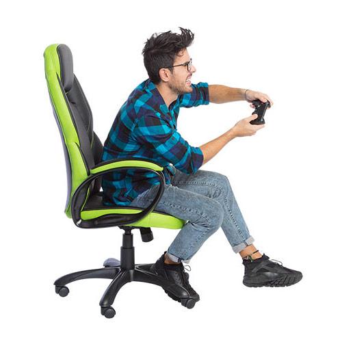 Модерен президентски офис стол от еко кожа в черно и зелено-гейминг