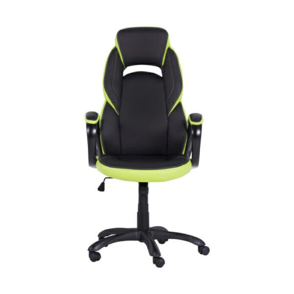 Модерен президентски офис стол от еко кожа в черно и зелено-снимка отпред