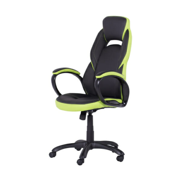 Модерен президентски офис стол от еко кожа в черно и зелено-снимка отстрани