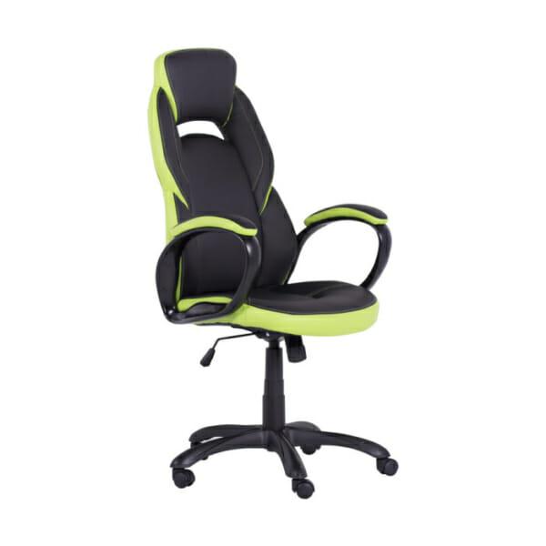 Модерен президентски офис стол от еко кожа в черно и зелено