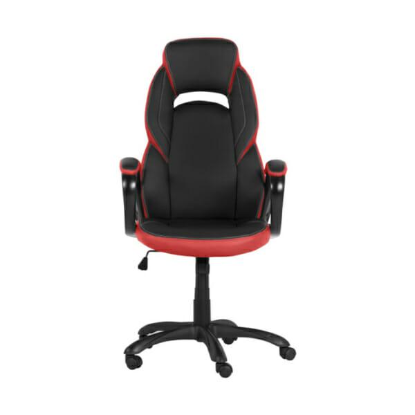 Модерен президентски офис стол от еко кожа в черно и червено-снимка отпред