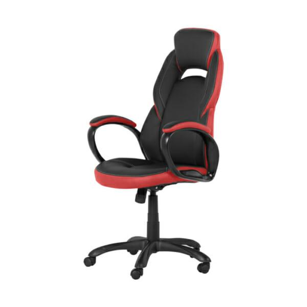 Модерен президентски офис стол от еко кожа в черно и червено-снимка отстрани