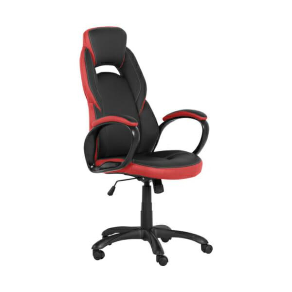 Модерен президентски офис стол от еко кожа в черно и червено