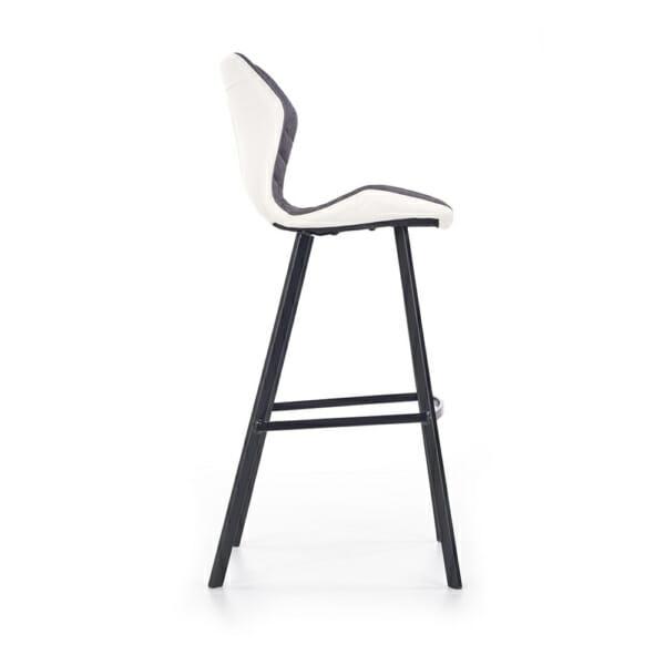 Модерен стол за барплот с облегалка и метални крака-снимка отстрани