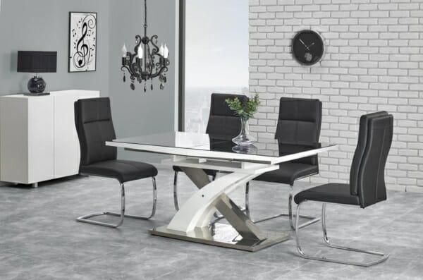 Модерна разтегателна маса в бяло и черно Сандор - неразтегната