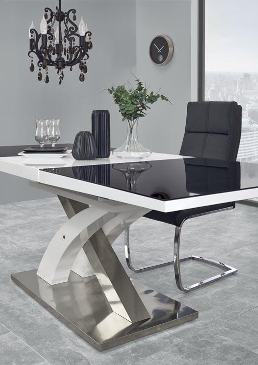Модерна разтегателна маса в бяло и черно Сандор - отблизо