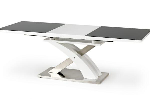 Модерна разтегателна маса в бяло и черно Сандор - разтегната