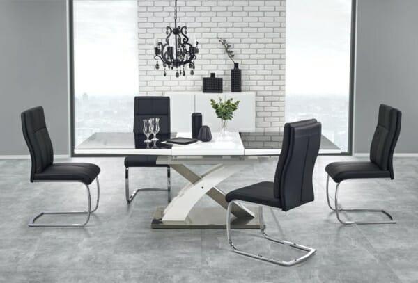 Модерна разтегателна маса в бяло и черно Сандор
