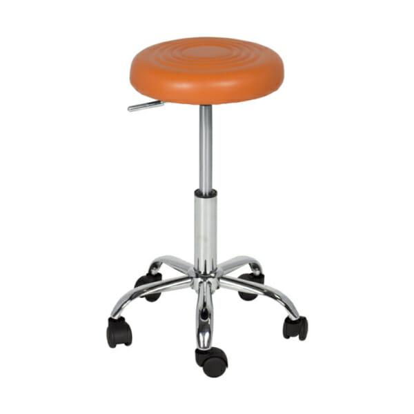 Оранжева кръгла въртяща се табуретка на колелца