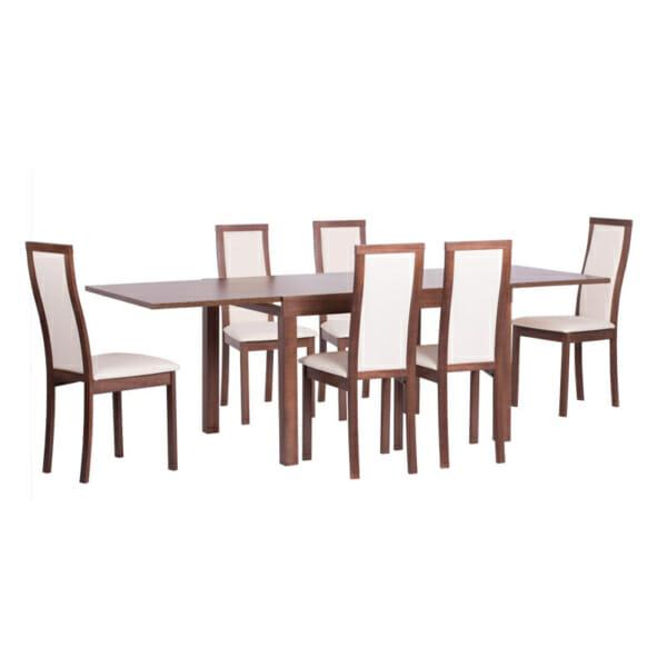 Правоъгълна разтегателна маса за трапезария+столове