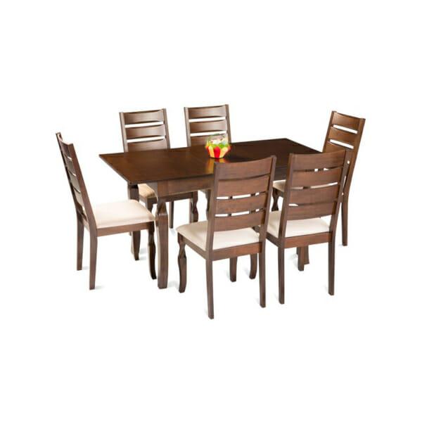 Разтегателна трапезарна маса в цвят меден дъб+столове