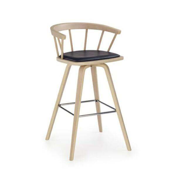 Ретро бар стол с облегалка и кожена седалка