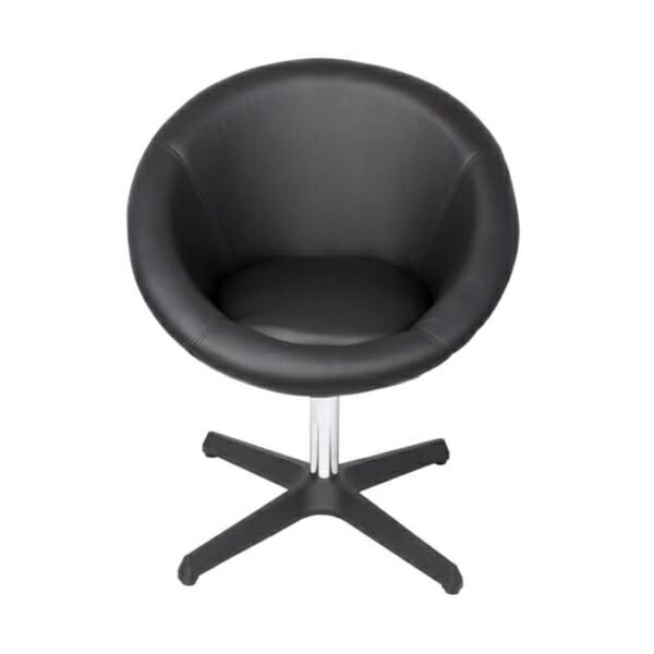 Черен Кръгъл нисък бар стол с облегалка-отпред