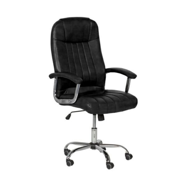 Черен кожен директорски офис стол с метална основа