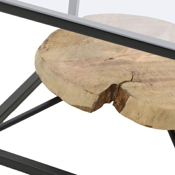 Декоративна маса за кафе с втори плот от естествено дърво (2)