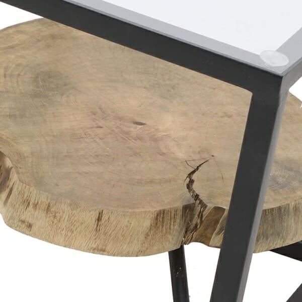 Декоративна маса за кафе с втори плот от естествено дърво (3)
