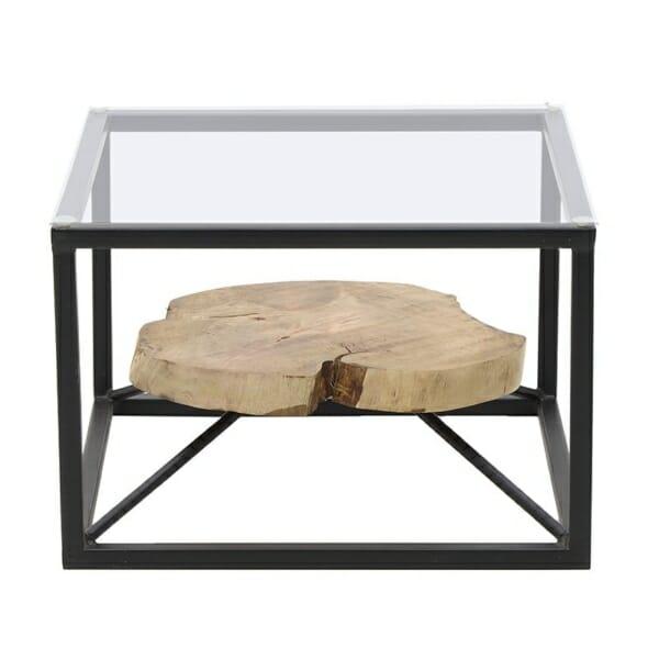 Декоративна маса за кафе с втори плот от естествено дърво