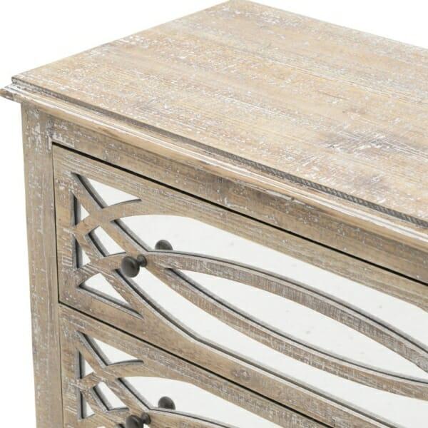 Дървен скрин с 3 огледални чекмеджета Vito - отблизо