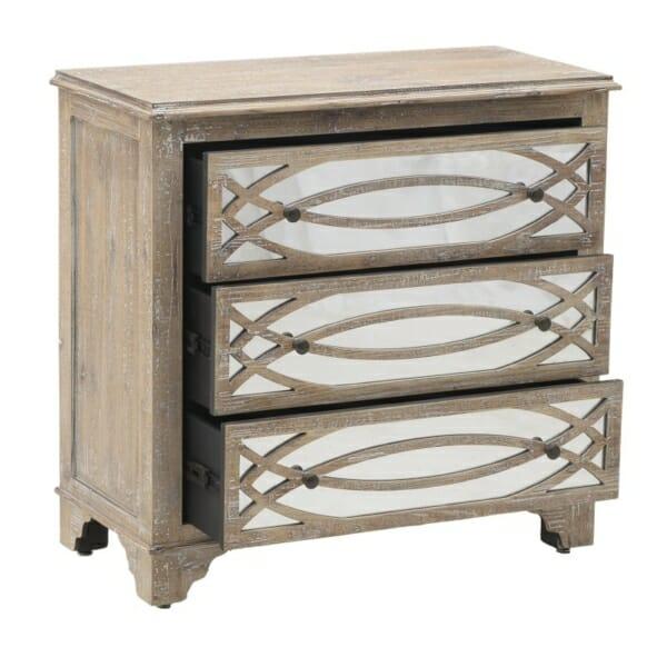 Дървен скрин с 3 огледални чекмеджета Vito - отворен