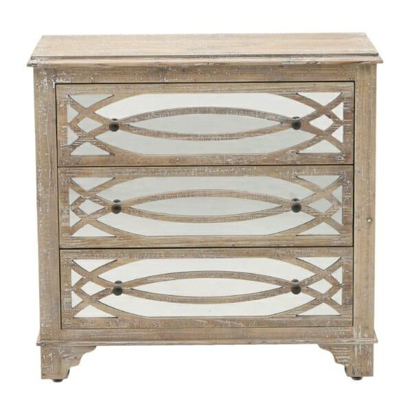 Дървен скрин с 3 огледални чекмеджета Vito - отпред
