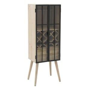 Дървен шкаф за вино със стъклени врати